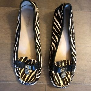 Michael Kors calf hair zebra print loafers size 8